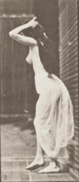 Nude woman with skirt dancing