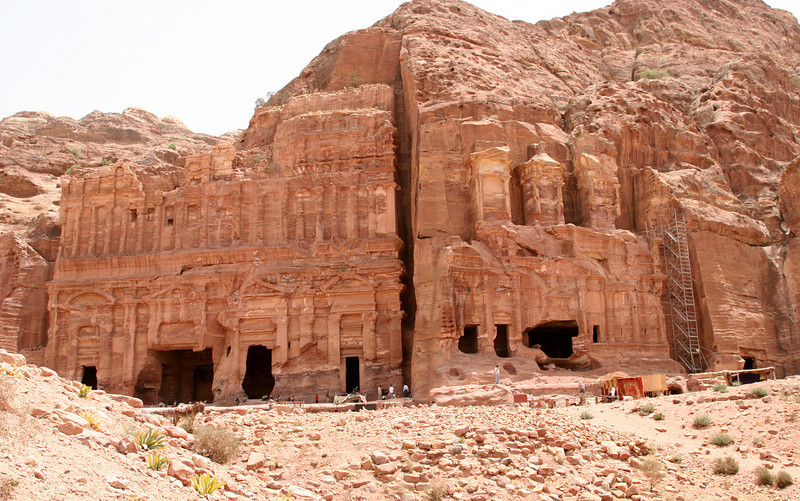 Petra - Royal Tombs - These very weathered tombs are the Corinthian Tomb (right) and the large Pacae Tomb (left).  The top level of the Corinthian Tomb are similar to the Treasury.