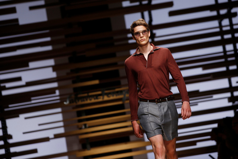 . A model wears a creation for Salvatore Ferragamo men\'s Spring-Summer 2015 collection, part of the Milan Fashion Week, unveiled in Milan, Italy, Sunday, June 22, 2014. (AP Photo/Luca Bruno)