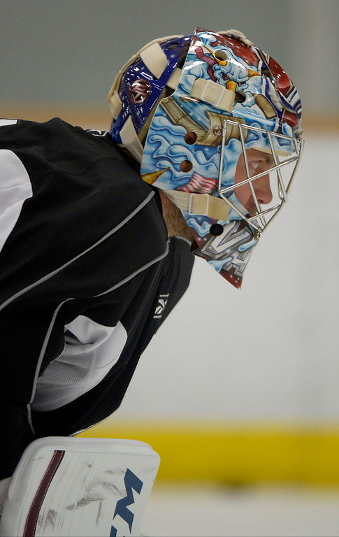. Colorado Avalanche G Semyon Varlamov (1) watches G J.S. Giguere during practice September 9, 2013 at Family Sports Ice Arena. (Photo By John Leyba/The Denver Post)