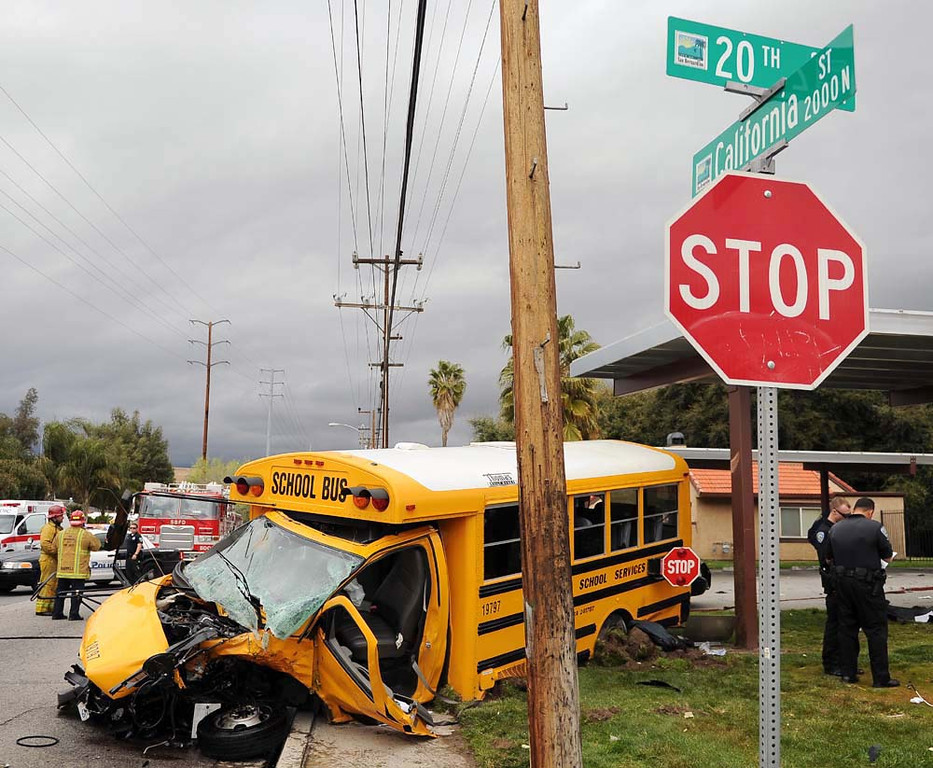 . Three people are in critical condition after a crash involving a school bus and an sports utility vehicle occurred this afternoon in northwest area of San Bernardino.