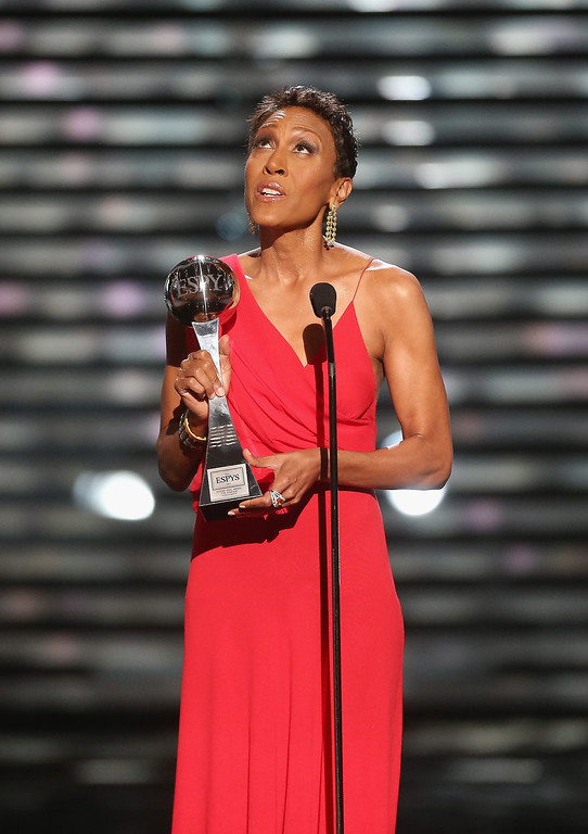 . TV personality Robin Roberts speaks onstage after being presented the Arthur Ashe Courage Award at The 2013 ESPY Awards at Nokia Theatre L.A. Live on July 17, 2013 in Los Angeles, California.  (Photo by Frederick M. Brown/Getty Images for ESPY)