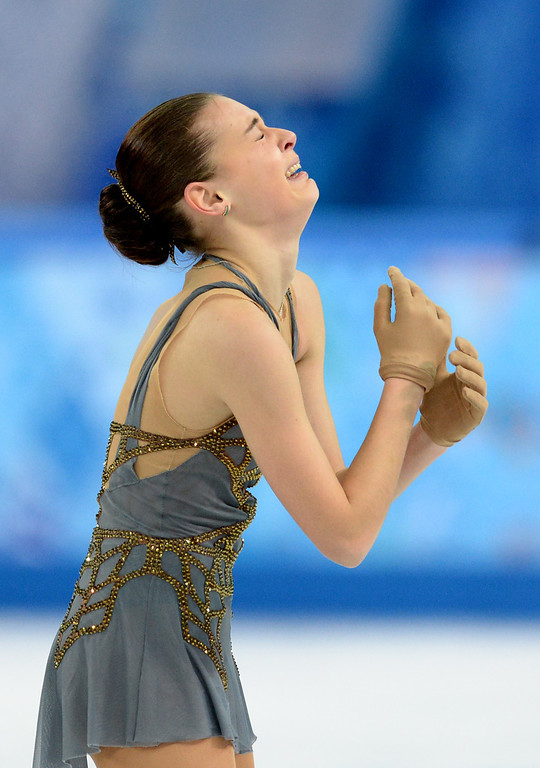 . Russia\'s Adelina Sotnikova reacts after performing in the Women\'s Figure Skating Free Program at the Iceberg Skating Palace during the Sochi Winter Olympics on February 20, 2014. YURI KADOBNOV/AFP/Getty Images