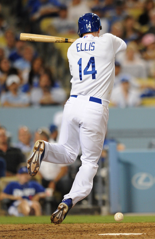 . Mark Ellis gets hit by a pitch. The Cubs defeated the Dodgers 3-2 in a game at Dodger Stadium. Los Angeles, CA. 8/24/2013(John McCoy/LA Daily News)