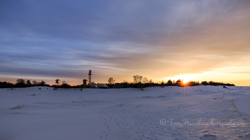 Winter Sunset at Whitefish Point.
