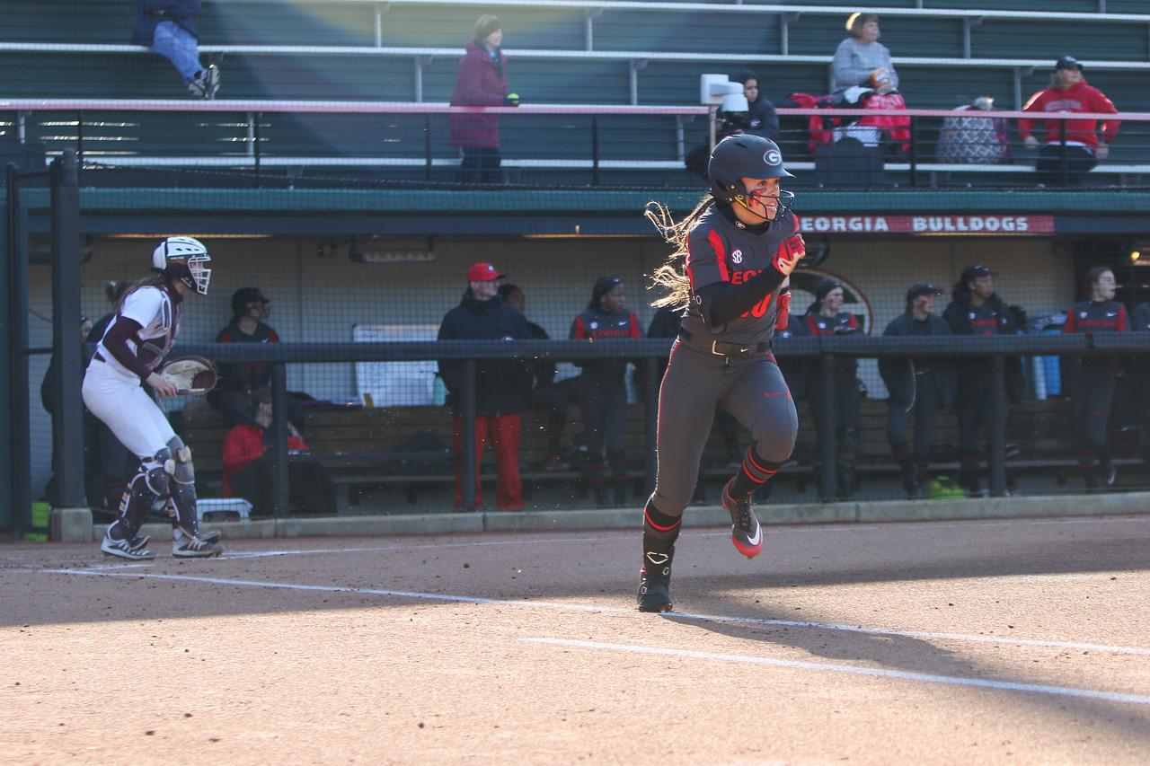 Georgia softball student-athlete Jordan Doggett (10) during a game against Central Michigan at the Jack Turner Softball Complex in Athens, Ga., on Fri., Feb. 21, 2020. (Photo by Chamberlain Smith)