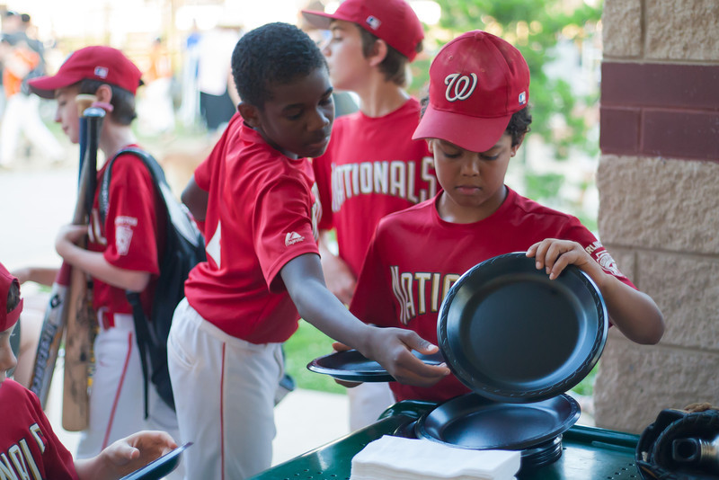 Celebrating Toby's birthday after an exciting 5-2 win over the Orioles. 2012 Arlington Little League Baseball, Majors Division. Nationals vs Orioles (09 Jun 2012) (Image taken by Patrick R. Kane on 09 Jun 2012 with Canon EOS-1D Mark III at ISO 1600, f1.8, 1/1250 sec and 50mm)