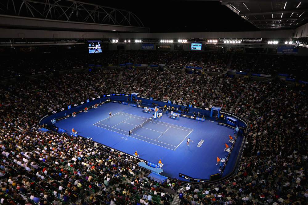 . A general view of Rod Laver Arena in the final match between Victoria Azarenka of Belarus and Na Li of China during day thirteen of the 2013 Australian Open at Melbourne Park on January 26, 2013 in Melbourne, Australia.  (Photo by Cameron Spencer/Getty Images)