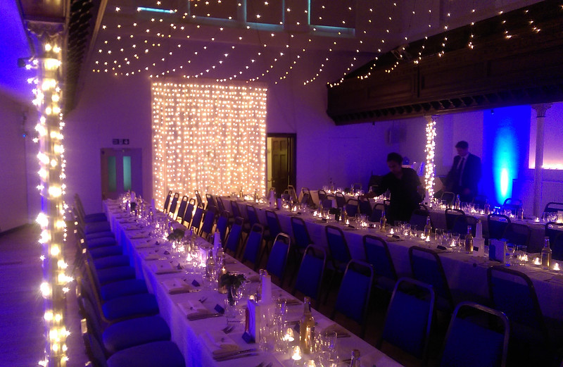 Tealights in White. wall lights in Blue