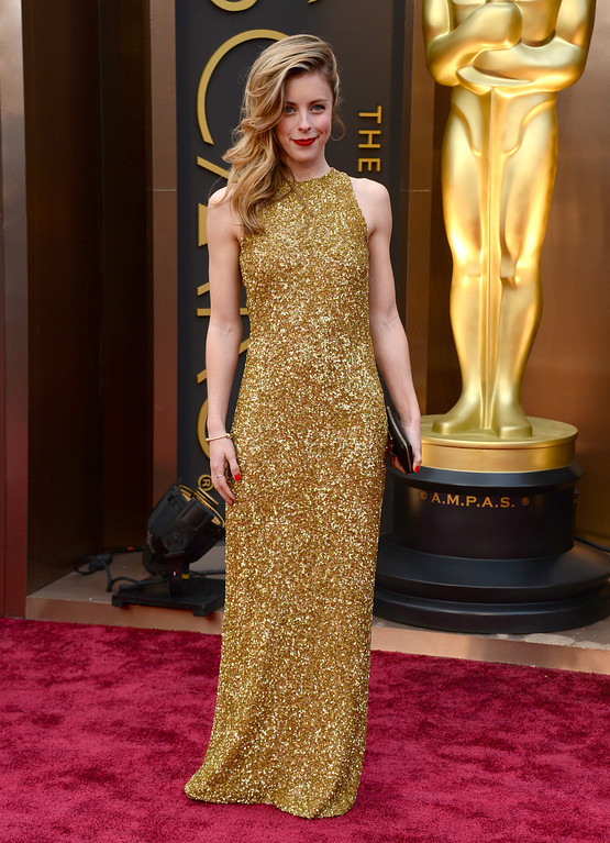 . Ashley Wagner arrives at the Oscars on Sunday, March 2, 2014, at the Dolby Theatre in Los Angeles.  (Photo by Jordan Strauss/Invision/AP)