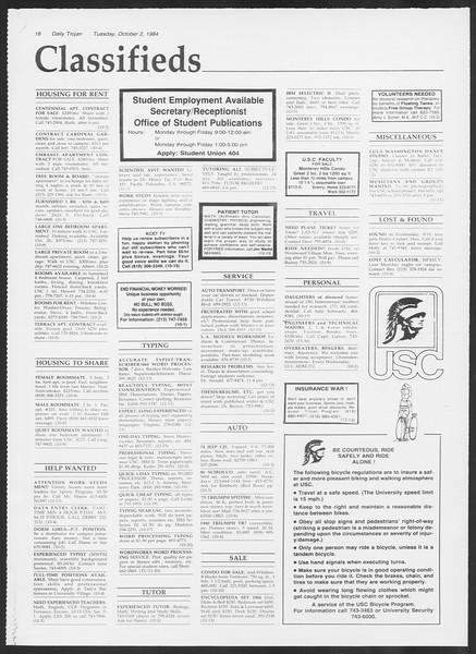 Daily Trojan, Vol. 97, No. 21, October 02, 1984