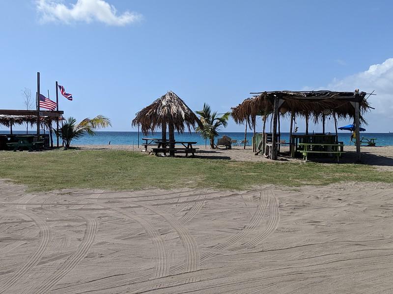 A short walk down the beach you run into some beach food/bars
