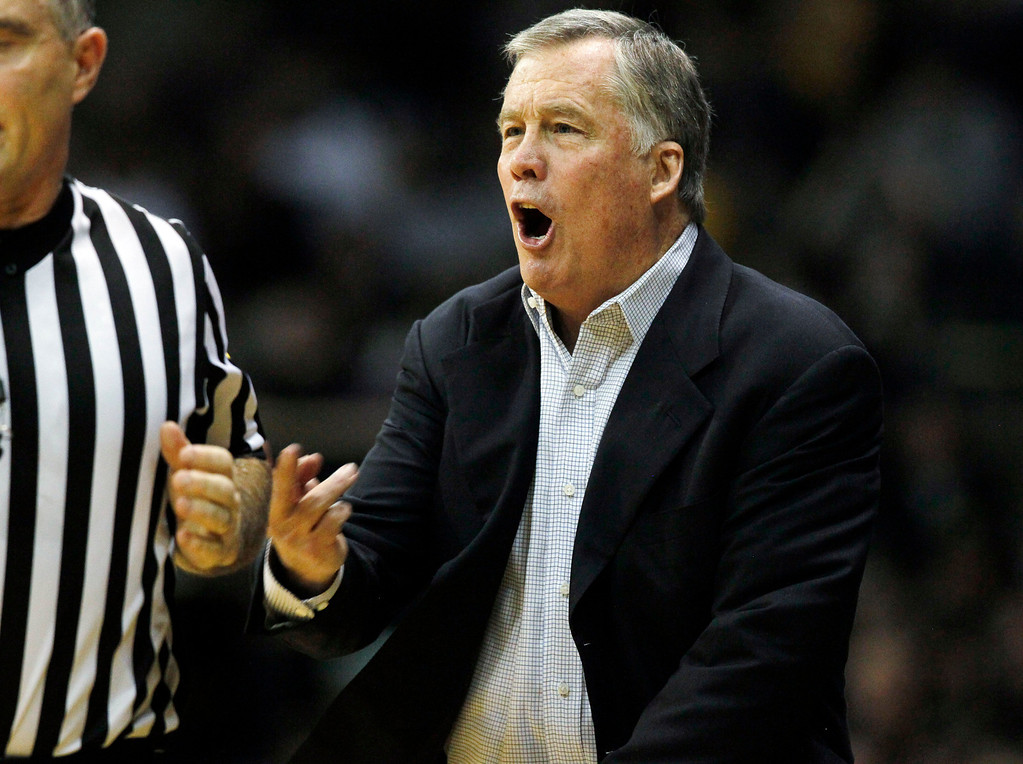 . California head coach Mike Montgomery argues a call against his team while facing Colorado in the second half of Colorado\'s 81-71 victory in an NCAA basketball game in Boulder, Colo., Sunday, Jan. 27, 2013. (AP Photo/David Zalubowski)