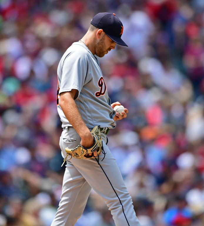 . Detroit Tigers starting pitcher Matthew Boyd reacts after a two-run single by Cleveland Indians Michael Brantley in the second inning of a baseball game, Sunday, June 24, 2018, in Cleveland. (AP Photo/David Dermer)