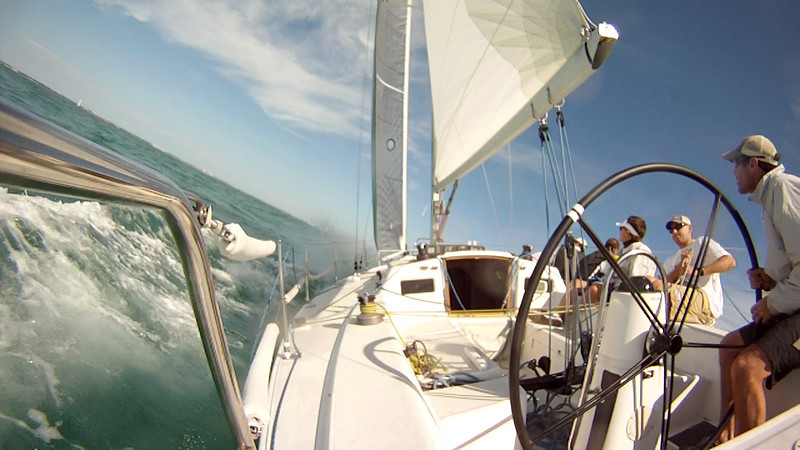 Screen capture of our onboard video. Sailing upwind.
