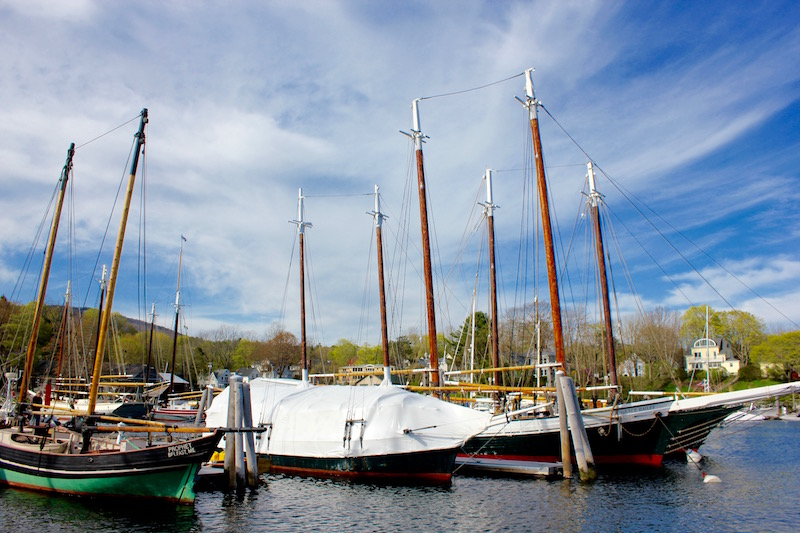 windjammers in Camden Harbor in Camden Maine