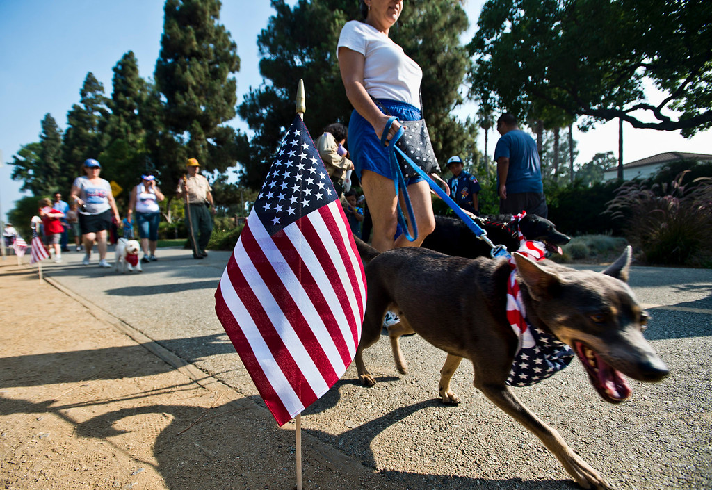 . Loretta Rihbany, of Whittier, participates in the freedom walk with her dogs, Logan, front, and Ella along the Greenway Trail, in Whittier on Thursday, July 4, 2013. (SGVN/Staff photo by Watchara Phomicinda)