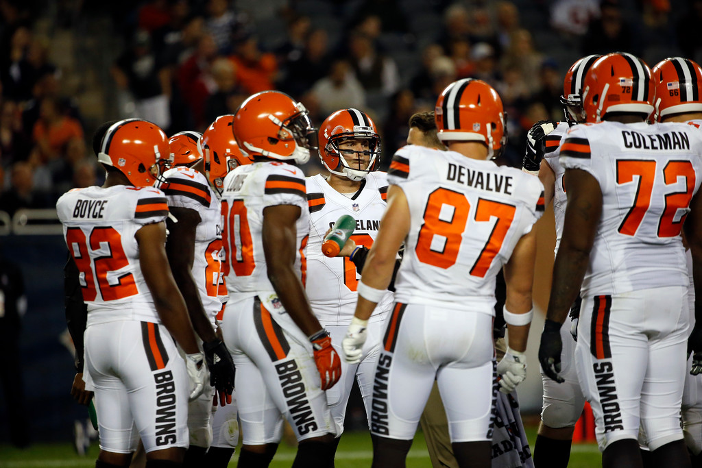 . Cleveland Browns quarterback Cody Kessler, center, during the first half of an NFL preseason football game against the Chicago Bears against the Cleveland Browns, Thursday, Aug. 31, 2017, in Chicago. (AP Photo/Nam Y. Huh)