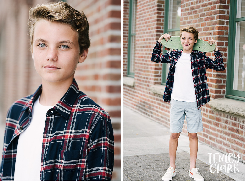 Skateboard. Playful teen boy model headshot portfolio commercial lifestyle photoshoot by Tenley Clark Photography. Pleasanton, CA.