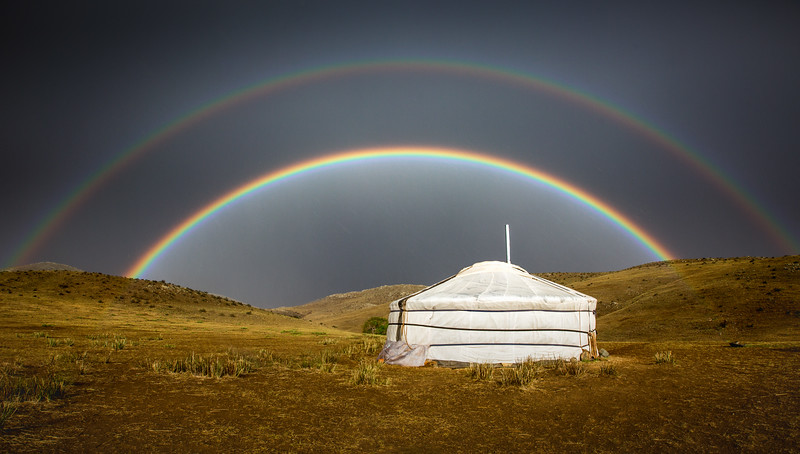 We had just arrived at our camp in Mongolia and a rainbow appeared. I could actually see the end of it, landing straight on the ground just 10 metres in front of my ger. Needless to say - I tried to jump on, but it moved. #Rainbow #Mongolia #Ger #Camping #Weather #Glamping #BBCEarth #EarthOnLocation