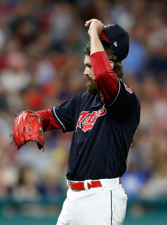 . Cleveland Indians\' Andrew Miller reacts after walking Detroit Tigers\' Nicholas Castellanos during the seventh inning of a baseball game, Friday, Sept. 14, 2018, in Cleveland. (AP Photo/Ron Schwane)