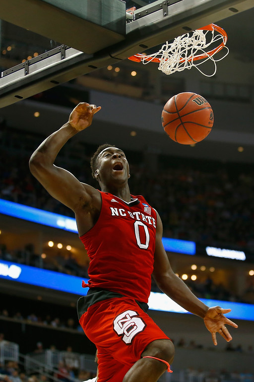 . Abdul-Malik Abu #0 of the North Carolina State Wolfpack dunks against the Villanova Wildcats in the second half during the third round of the 2015 NCAA Men\'s Basketball Tournament at Consol Energy Center on March 21, 2015 in Pittsburgh, Pennsylvania.  (Photo by Jared Wickerham/Getty Images)