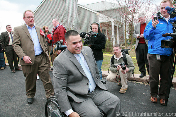 "2011 04-02 ""Welcome Home"" dedication celebration welcomes wounded marine Josh Himan. Generous donations of money, volunteer labor, building materials and furnishings are making it possible for Himan to have street access and a place to live that is totally wheelchair accessible. Now he can again live at home. Trish Hamilton"