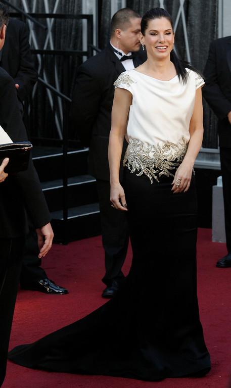 . Sandra Bullock arrives for the 84th Annual Academy Awards at the Kodak Theatre in Hollywood, California on February 26, 2012. ( David Crane/Los Angeles Daily News)