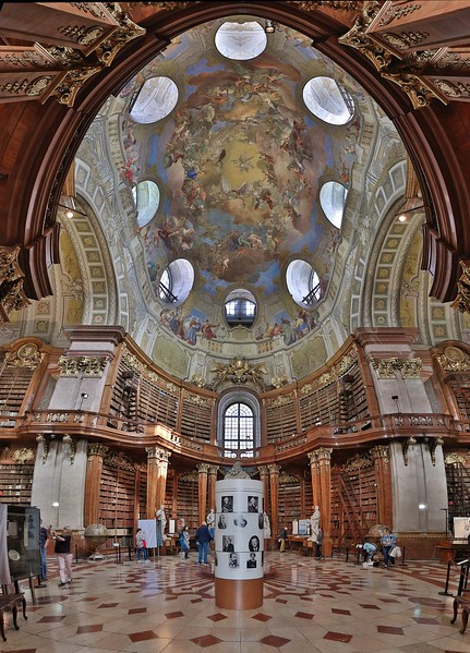 Vertical panorama of the Prunksaal, showpiece of the National Library of Austria. This is the ceremonial room of the library, located on the grounds of the Hofburg Palace.
