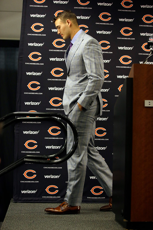 . Chicago Bears quarterback Mitchell Trubisky walks off the podium after talking at a news conference after an NFL football game against the San Francisco 49ers, Sunday, Dec. 3, 2017, in Chicago. (AP Photo/Nam Y. Huh)