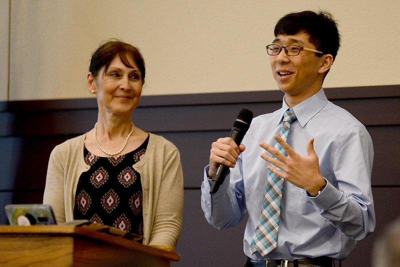 "Cedar Park High School senior Sangmin Yi, recognizing Allison Trueblood: ""From school-related issues to personal issues or things that I had going on in my life, Mrs. Trueblood always had time to listen to what I had to say and gave me advice on how to become a better human being. I have had her since my sophomore year starting in Chemistry and have been under here wing until this year in AP Physics 1 and 2, so she is well aware of my antics and troubles that I bring to her, yet she is always forgiving and is considerate to not only me but to other students as well. One of the reasons why I am so interested in the field of science and want to further my education in the field of science is because of Mrs. Trueblood make science something that is fun, interesting, and easily understandable by all. I would not be the same person if it was not for her and I would like to thank her by being part of this alongside with me."""