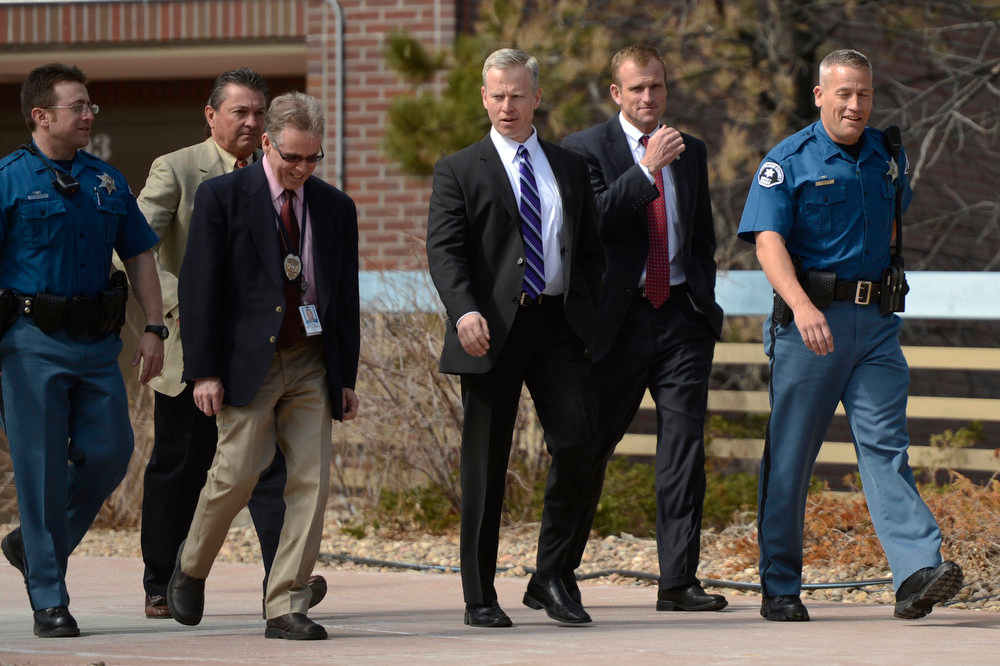 Description of . District Attorney George Brauchler at the Arapahoe County Justice Center during a hearing in the case of Aurora theater shooting suspect James Holmes April 01, 2013 Centennial, Colorado. (Photo By Joe Amon/The Denver Post)