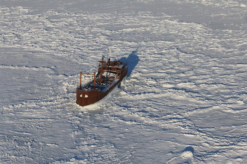MV Ithaca shipwreck frozen in Hudson Bay