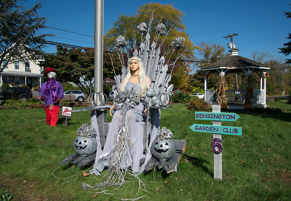 10/14/19 Wesley Bunnell | StaffrrThe Berlin Parks and Recreation Department is hosting the 15th Annual Scarecrow Festival now through the end of the month with scarecrows on display on Farmington Ave. A scarecrow on display by the Kensington Garden Club.
