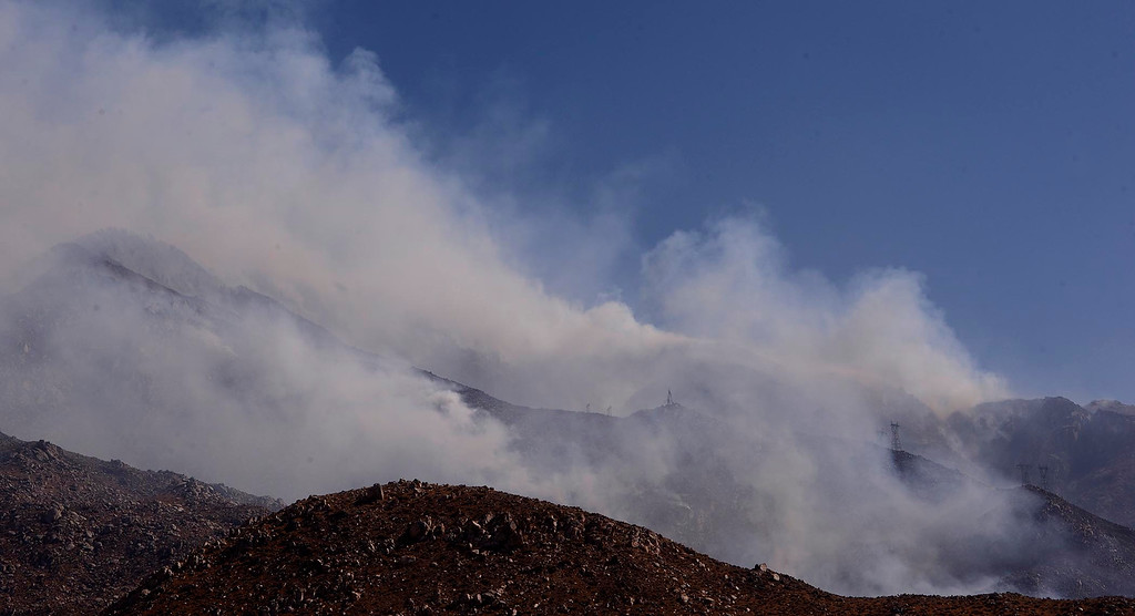 . The Silver Fire burns the mountains located between Cabazon and Palm Springs August 8, 2013.  GABRIEL LUIS ACOSTA/STAFF PHOTOGRAPHER.