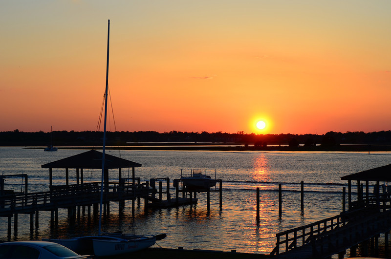 Friday night sunset over the sound at Wrightsville Beach.