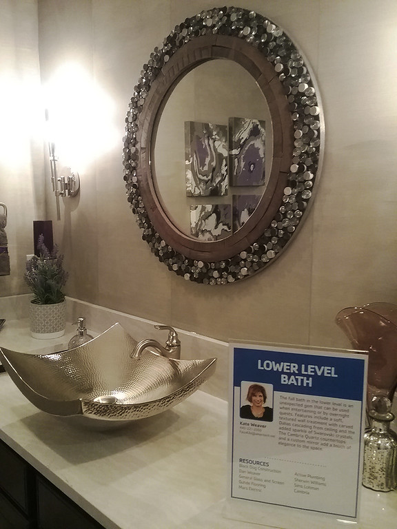 . The lower level bath designed by Kate Weaver, co-design coordinator of the Dream House. (Jean Bonchak)