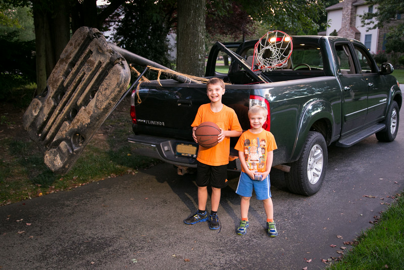 Huge thanks to my friend Jay for dropping everything he had going on this day  so we could go on a Craigslist buy mission for a basketball backstop for the boys.