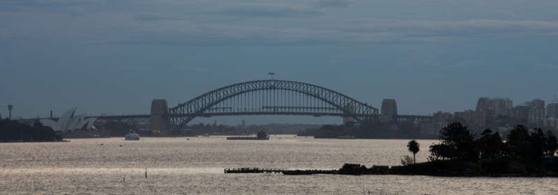 Sydney Harbour Bridge as seen from Queen's Beach -- Shark Island is in the foreground.