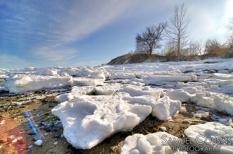 Large chunks of sea ice washed up on the shore after the blizzard of 2013.