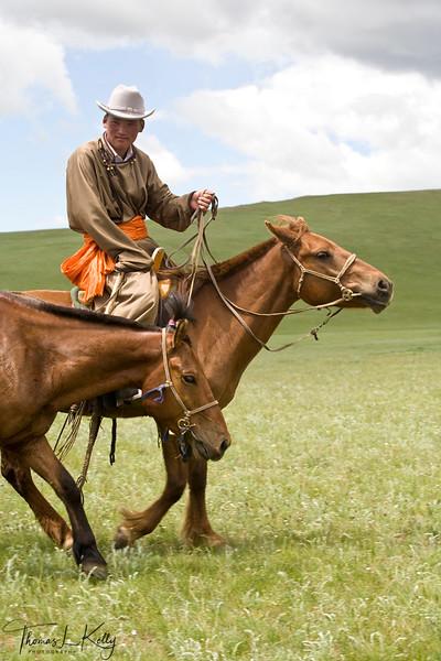 Mongol horseman. Bunkhan Valley, Mongolia.