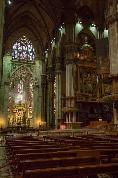 Inside the Duomo di Milano.