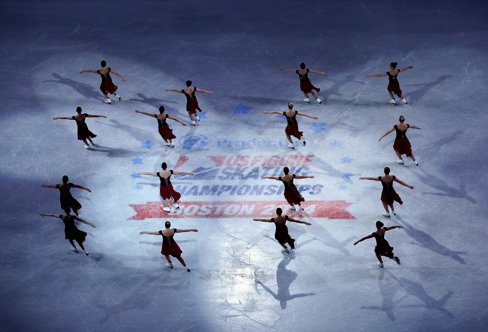 . Members of the Haydenettes synchronized skating team perform during the Smucker\'s Skating Spectacular following the Prudential U.S. Figure Skating Championships at TD Garden on January 12, 2014 in Boston, Massachusetts.  (Photo by Jared Wickerham/Getty Images)