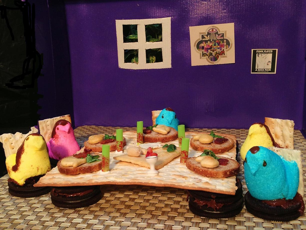 . Title: Peeps at Passover  Noah Axelrad, 13 yrs old,  Entire composition is edible, made from Peeps, Matzoh, Nutella, peanuts & Oreo cookies