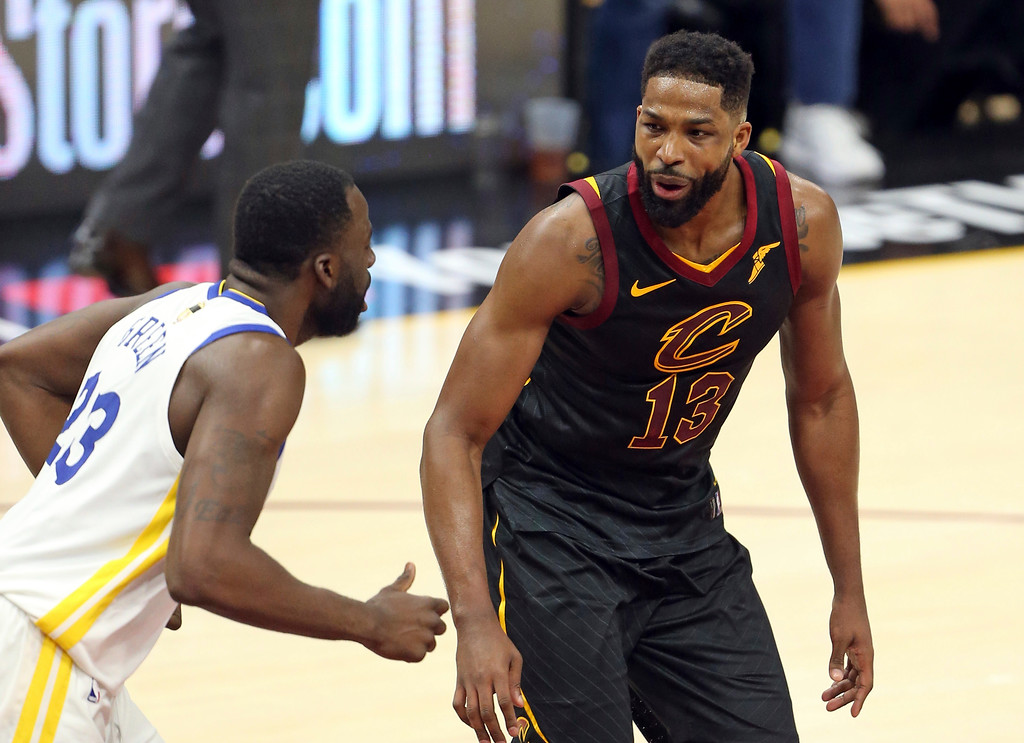 . Cleveland Cavaliers center Tristan Thompson, right, and Golden State Warriors forward Draymond Green exchange words that would result in a double technical during the first half of Game 3 of basketball\'s NBA Finals on Wednesday, June 6, 2018, in Cleveland. (Joshua Gunter/Cleveland.com via AP)