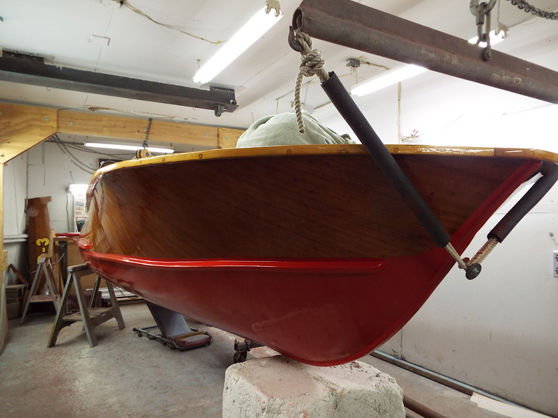 Starboard side unmasked after the third coat of red was applied.