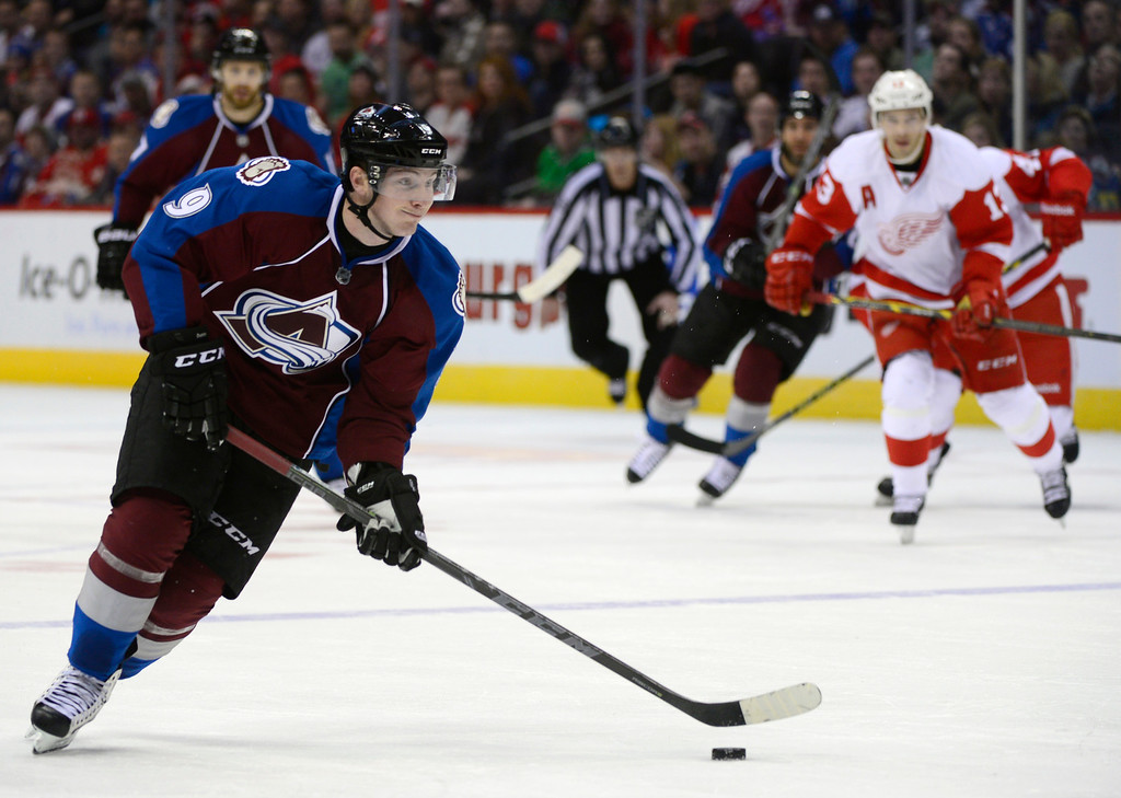 . DENVER, CO - February 5: Colorado Avalanche center Matt Duchene (9) prepares to take a shot on the goal during the third period Thursday, February 5, 2015 at the Pepsi Center in Denver, Colorado. The Avalanche lost 3-0 to the Red Wings. (Photo By Brent Lewis/The Denver Post)
