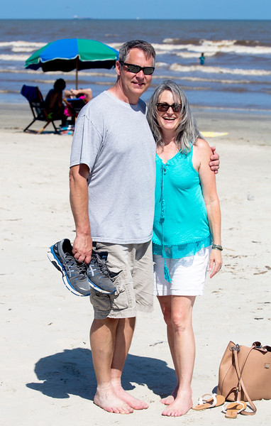 Now Peter and Sara are on Galveston's beach, just beyond the Sea Wall.