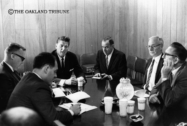 . Oakland, CA October 31, 1966 - Ronald Reagan meets with the Oakland Tribune editorial board as he runs for California governor. (Leo Cohen / Oakland Tribune Staff Archives)