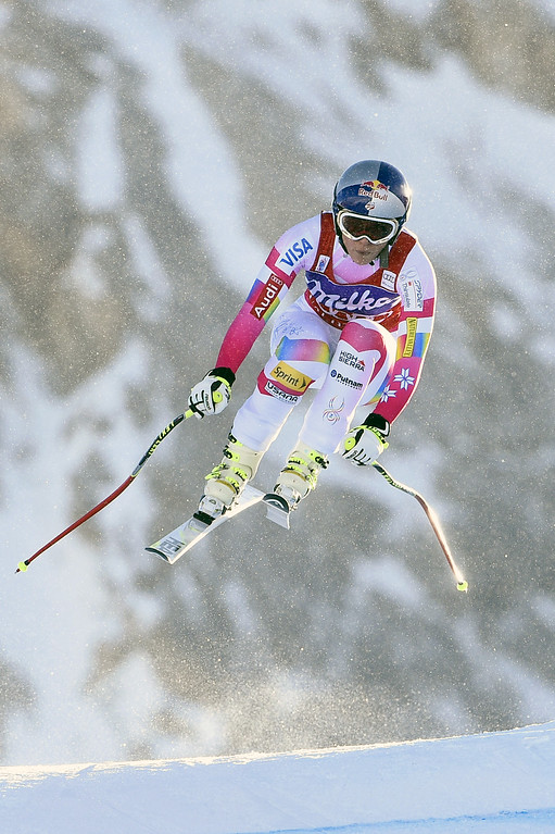 . Lindsey Vonn of the USA takes 1st place during the Audi FIS Alpine Ski World Cup Women\'s Downhill on December 20, 2014 in Val d\'Isere, France. (Photo by Alain Grosclaude/Agence Zoom/Getty Images)